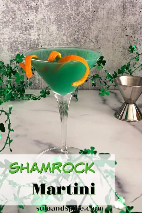 Shamrock martini pin