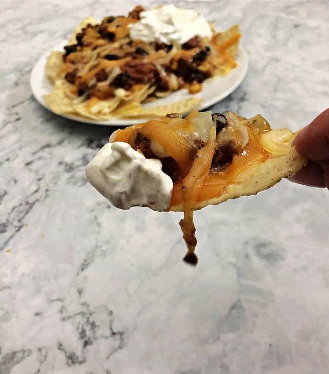 taco chili served like nachos