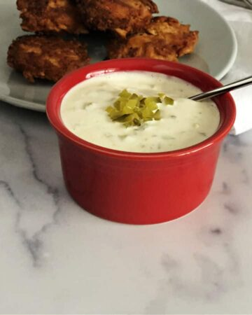 Keto Tartar sauce in a small red bowl