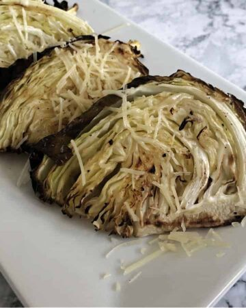 roasted cabbage wedges on a platter
