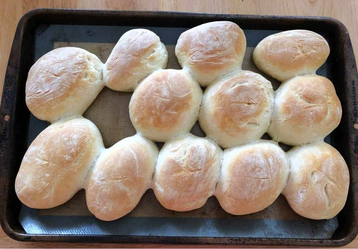 baked rolls on a baking sheet