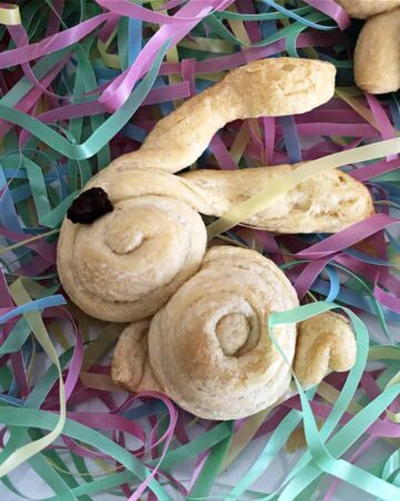 bunny crescent roll on pastel easter grass
