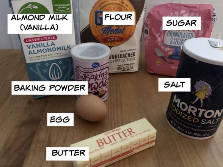 ingredient image of almond milk, butter, flour, sugar, salt, baking powder and egg