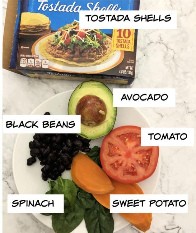 Ingredients: black beans, spinache, sweet potato, tomato, avocado, tostado shells