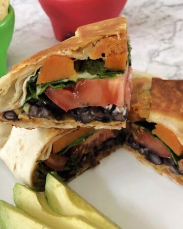 cut slice of vegetarian crunch wrap