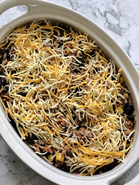 casserole rin an oval dish eady to bake