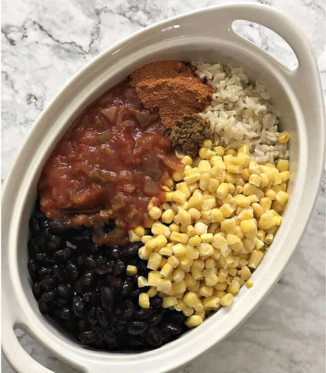 ingredients in an oval casserole dish