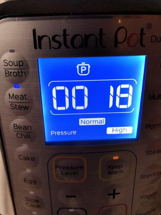 Instant Pot set to 18 minutes