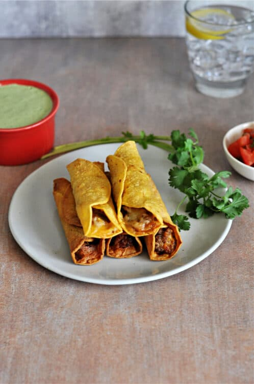 AIr Fryer Taquitos on a small plate