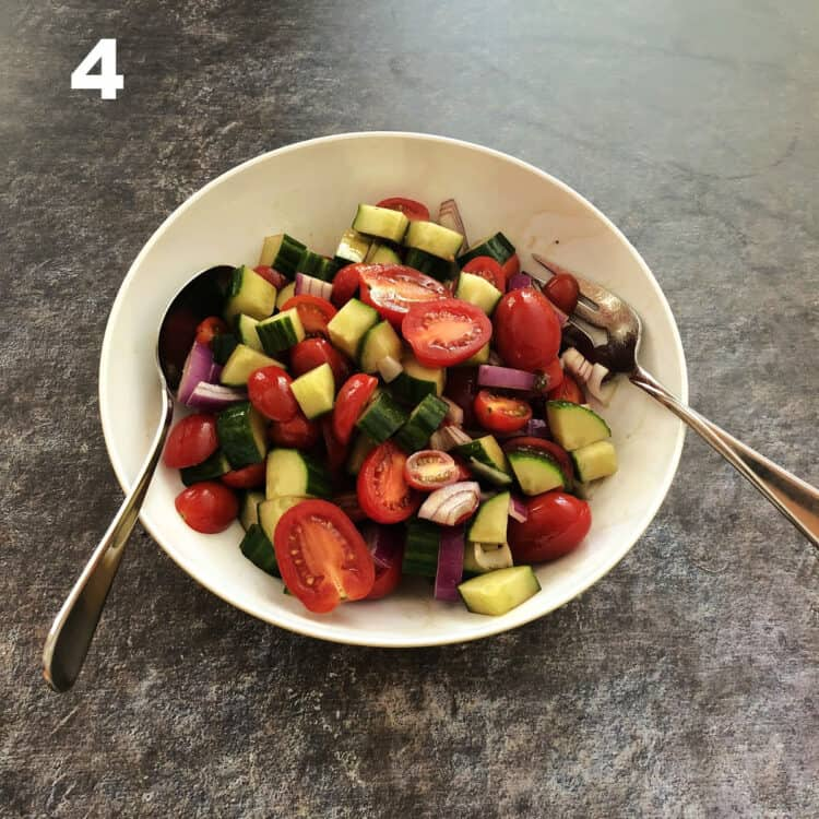 veggies with dressing mixed up