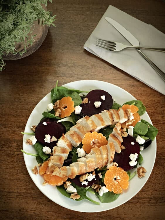 Beet salad with chicken added