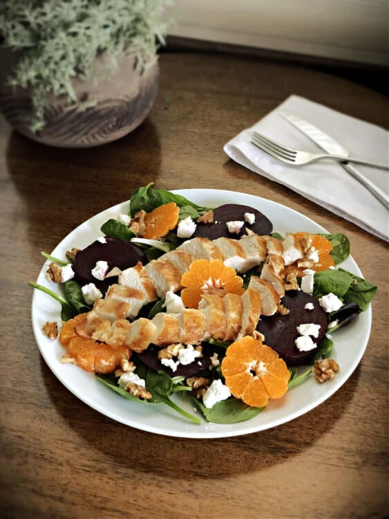 beet salad with goat cheese and chicken