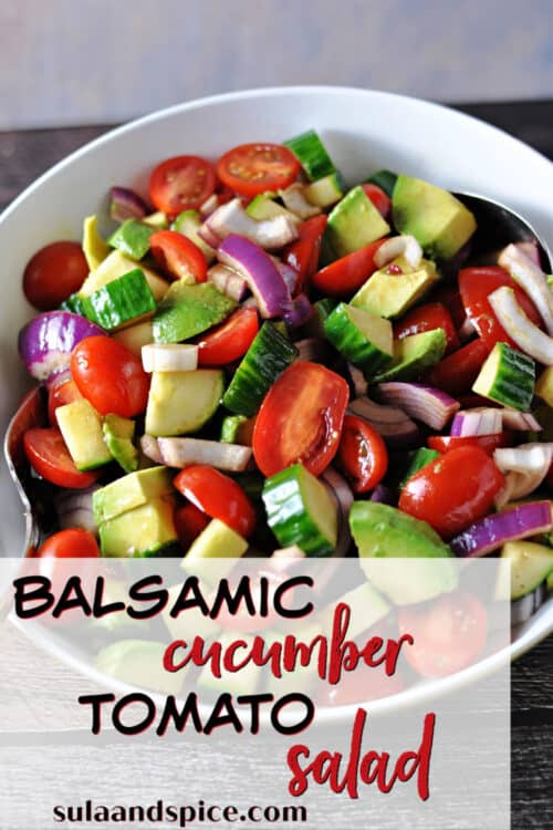 pin for balsamic cucumber tomato salad
