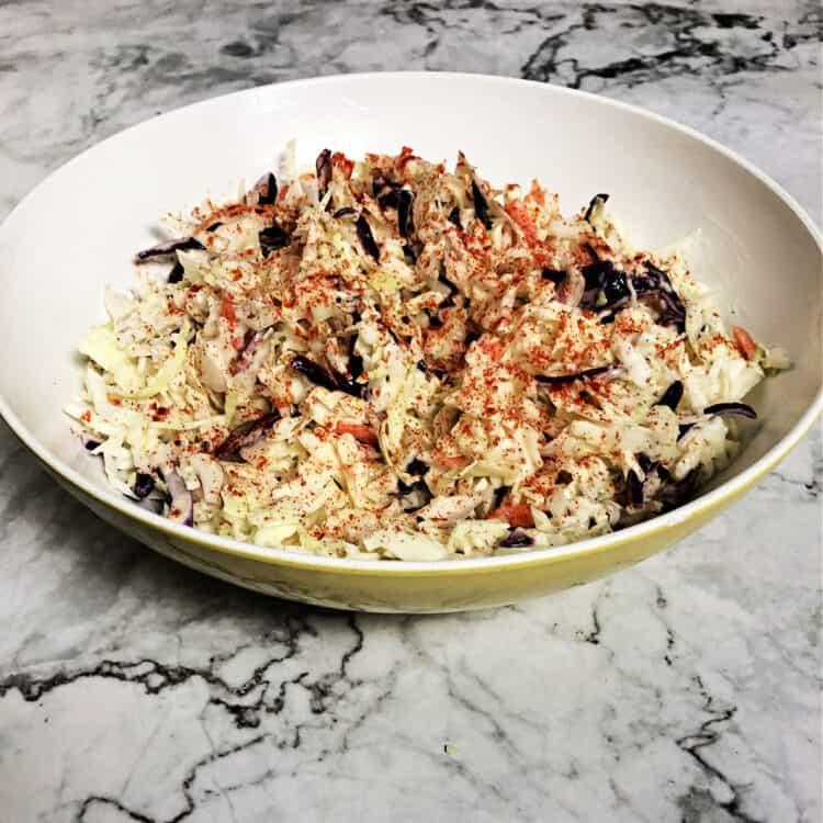 serving bowl of coleslaw