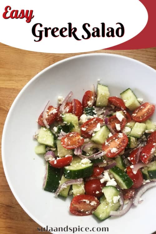 Pin for Easy Greek Cucumber Salad also known as Mediterranean Cucumber Salad