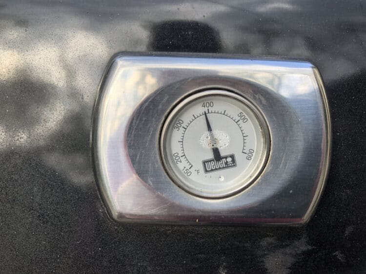 grill thermometer showing a temperature just under 400 degrees