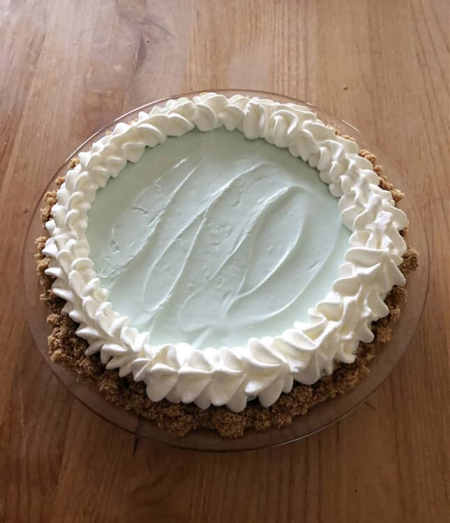 koolaid pie decorated with piped whipped cream