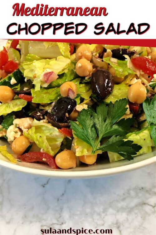 pin for mediterranean chopped salad