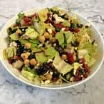Mediterranean Chopped salad in a serving bowl