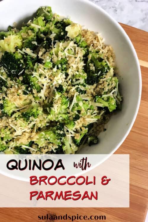 pin for quinoa broccoli parmesan
