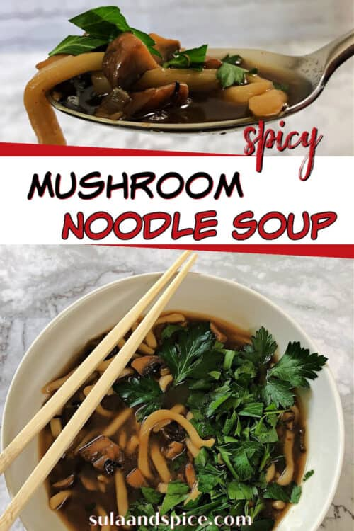pin for spicy mushroom noodle soup