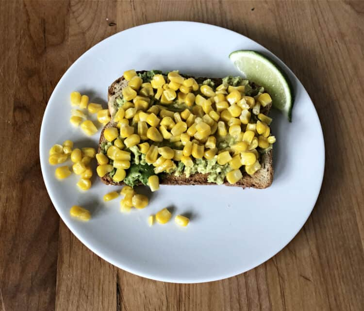 toast with corn on top