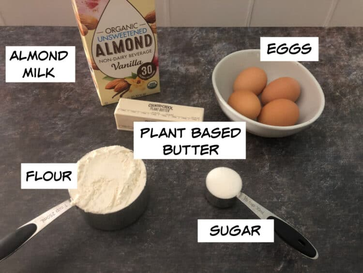 ingredients for crepes: almond milk, plant based butter, eggs, flour, sugar