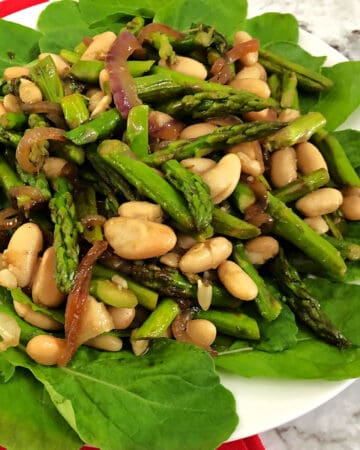 bean and asparagus salad close up