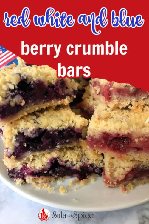 Pin for red white and blue berry crumble bars