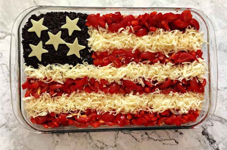 Taco dip decorated as an American flag