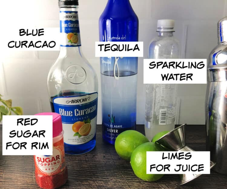 ingredients: blue curacao, tequila, sparkling water, limes, red sugar
