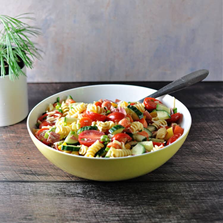 Easy pasta salad in a serving bowl