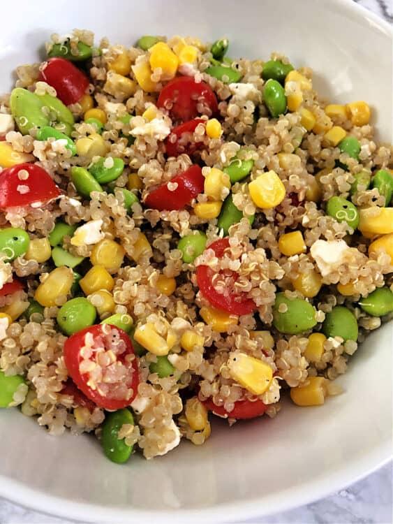 close up of quinoa edamame salad