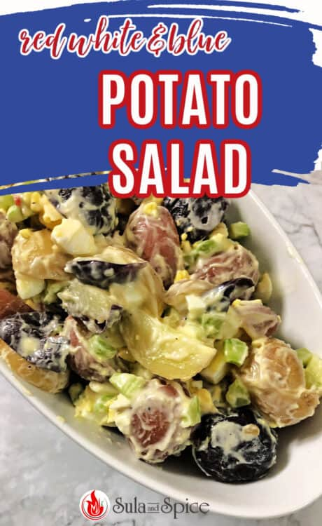 pin for red white and blue potato salad