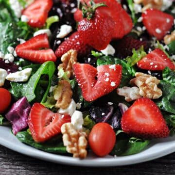 Strawberry walnut salad close up