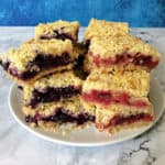 red white and blue berry bars showing blue stack on the left and red stack on the right
