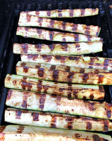 zucchini slices on the grill