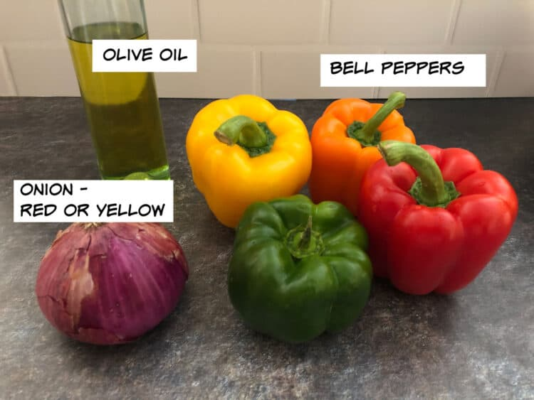 Ingredients: olive oil, bell peppers and an onion