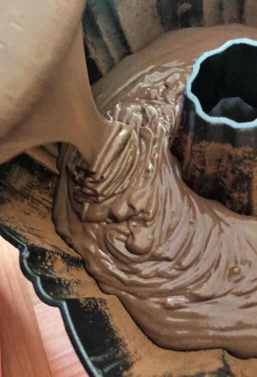 batter pouring into Bundt Pan