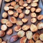 roasted baby potatoes on a sheet pan