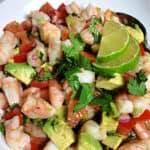 close up of lime shrimp avocado salad