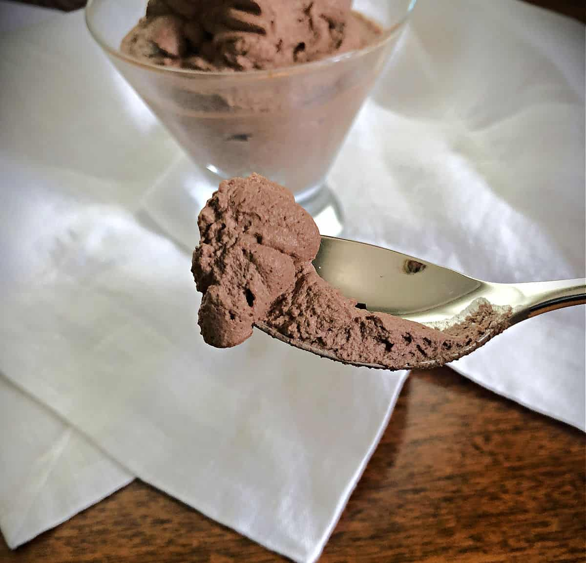 spoon of chocolate mousse