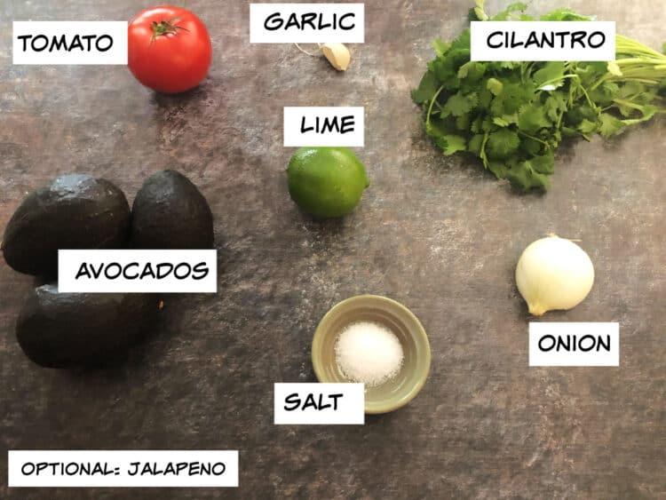 ingredients: avocados, tomato, lime, garlic, cilantro, onion, salt