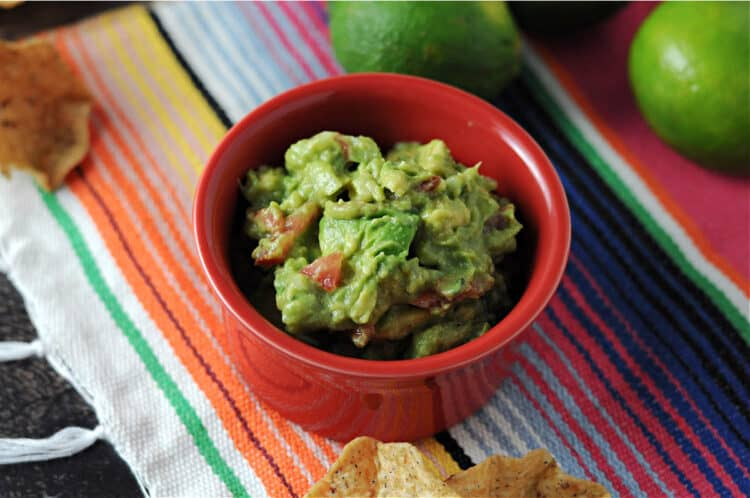 guacamole in a red bowl sitting on a brightly striped blanket