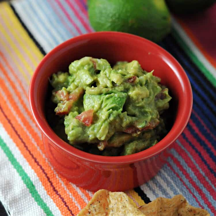 small red bowl of guacamole on a bright striped blanket