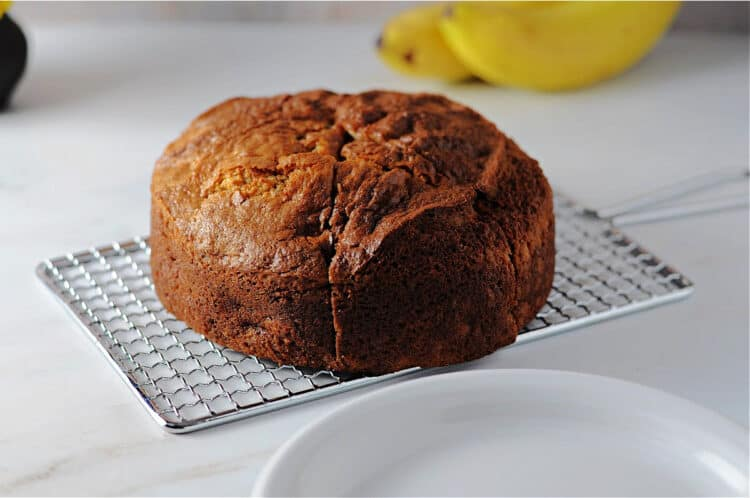 round loaf of banana bread ready to serve