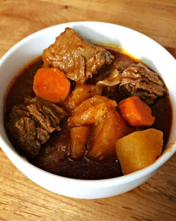 keto beef stew in a white bowl
