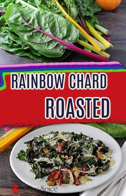 pin for roasted rainbow swiss chard